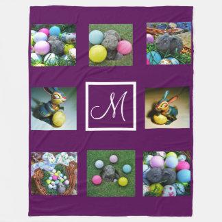 purple Instagram pictures custom collage monogram Fleece Blanket