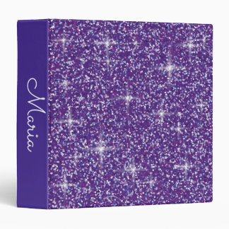 Purple iridescent glitter 3 ring binder