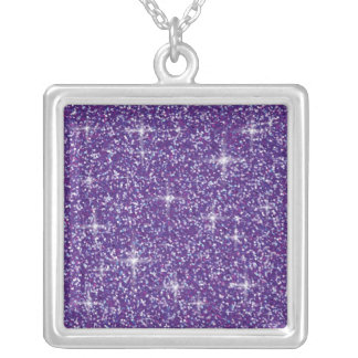 Purple iridescent glitter silver plated necklace