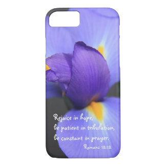 Purple Iris, Bible Verse about Hope, Romans 12: iPhone 8/7 Case