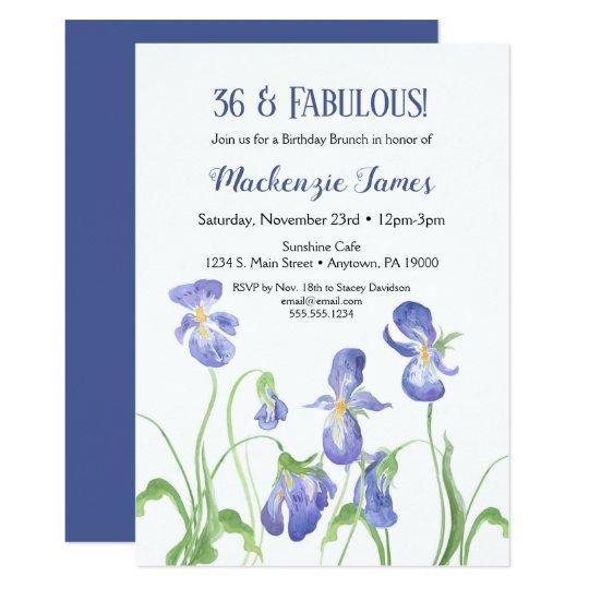 Purple Iris Birthday Invitation Floral Brunch