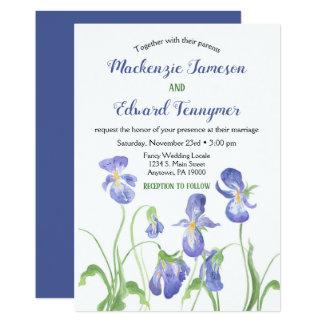 Purple Iris Floral Wedding Invitation