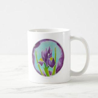 Purple Iris Flower Batik Art Coffee Mug