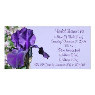 Purple Iris Flower Bridal Shower Invitation Personalized Photo Card