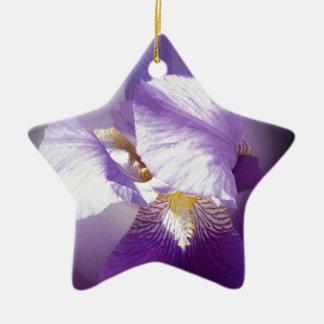 purple iris flower ceramic ornament