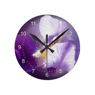 purple iris flower round clock