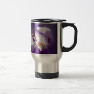 purple iris flower travel mug