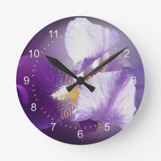 purple iris flower wallclocks