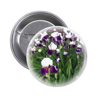 Purple Iris Garden 2 Inch Round Button