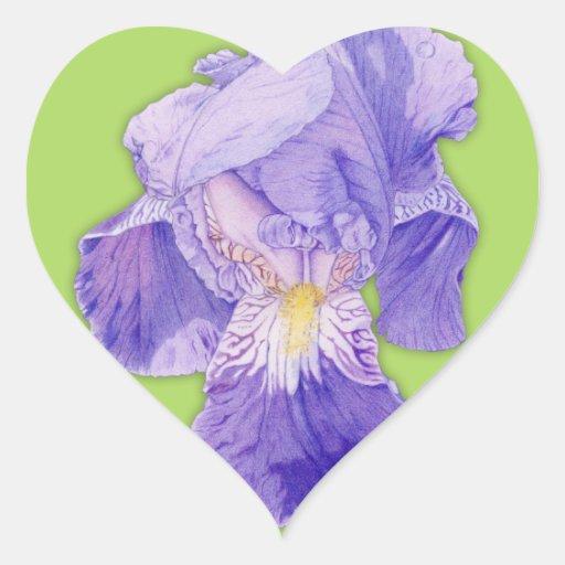 Purple Iris green Heart Sticker