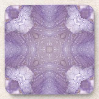 Purple Iris Kaleidoscope with Raindrops Beverage Coasters