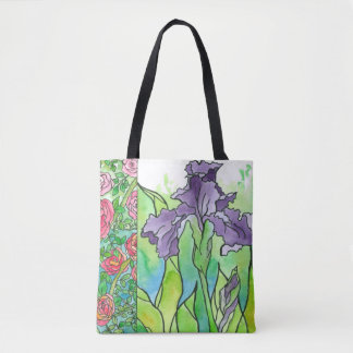 Purple Iris Pink Roses Large Watercolor Flowers Tote Bag