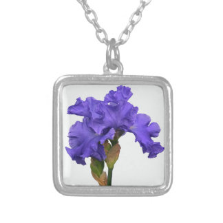 Purple Iris Silver Plated Necklace