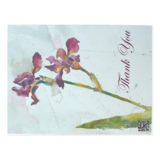 Purple iris thank you postcard