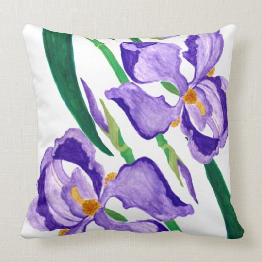 Purple Iris Throw Pillow
