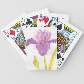 Purple Iris Watercolor Poker Deck