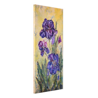 Purple Iris Watercolor Print Wrapped Canvas 12x26