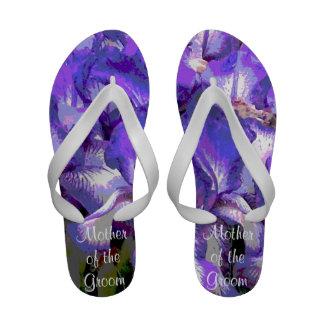 Purple Iris Wedding Flip Flops Sandals