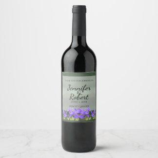 Purple Iris Wedding Wine Label