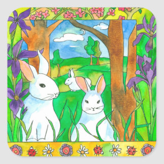 Purple Iris White Rabbits Square Sticker