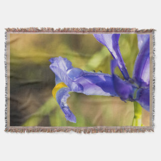 Purple Iris with Dewdrops Throw Blanket