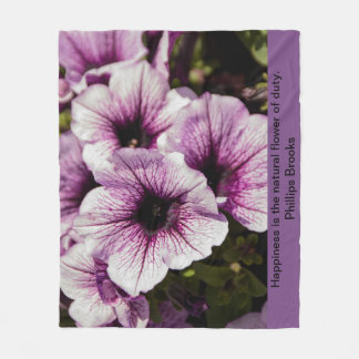Purple Iris with quote- Fleece Blanket