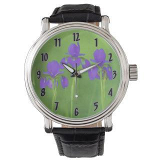 Purple Iris Wrist Watches