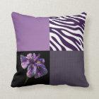 Purple Iris Zebra Stripe Gradient Colours Texture Throw Pillow