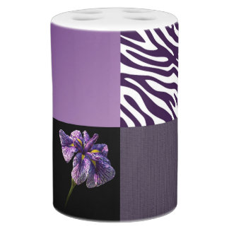 Purple Iris Zebra Stripe Pattern Mash Up Soap Dispenser And Toothbrush Holder