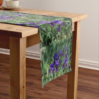 Purple Irises Floral Pattern Table Runner