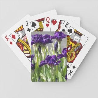Purple Irises Floral Poker Deck