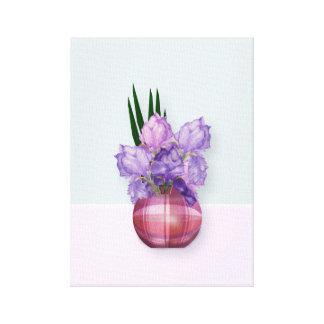 Purple Irises in a Plaid Vase Canvas Print