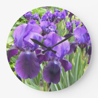 Purple Irises in Bloom Large Clock
