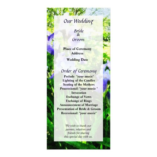 Purple Irises in Suburbs Wedding Program Rack Card