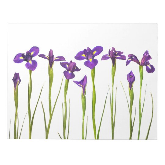 Purple Irises - Iris Flower Customized Template Notepad