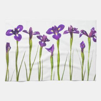 Purple irises isolated on a white background kitchen towel