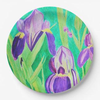 Purple irises watercolor 9 inch paper plate