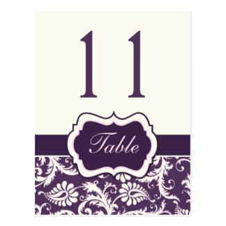Purple, Ivory, Pink Stripe Damask Table Number Postcard