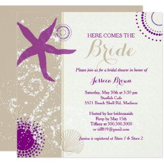 Purple Ivory Taupe Beach Bridal Shower Card