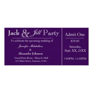 Purple Jack and Jill Shower Ticket Invitation