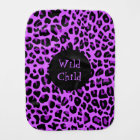 Purple Jaguar Print Baby Burp Cloth