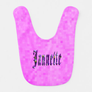 Purple Janette  Name Logo,  Pink Baby Bib. Bib