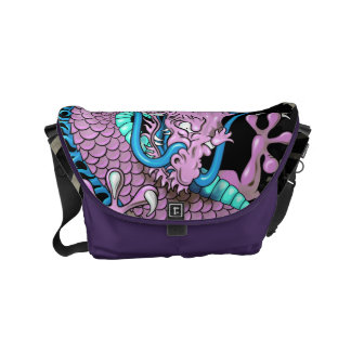 Purple Japanese Dragon Tattoo with Wind Bars Courier Bags