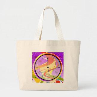 Purple Jazz Midnight Clock Large Tote Bag