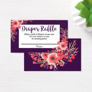 Purple Jewel Tone Watercolor Flowers Diaper Raffle Business Card