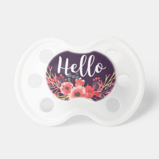 Purple Jewel Tone Watercolor Flowers Hello Script Pacifier