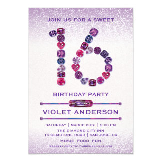 Purple Jewels Sweet 16 Birthday Party Invitations