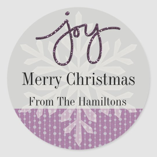 Purple Joy Snowflake Personalized Holiday Sticker