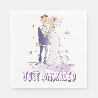 Purple Just Married Bride & Groom Cartoon Wedding Disposable Napkins