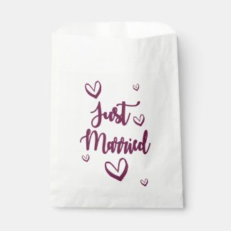 Purple Just Married & Hearts Wedding Announcement Favour Bag